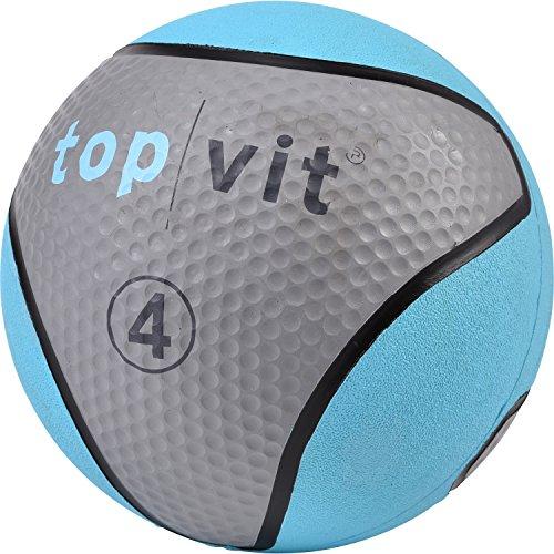 top | vit Medizinball - Fitnessball mit Gummioberfläche | Medizinbälle in Studio Qualität | 4kg, hellblau (Reebok Seil)
