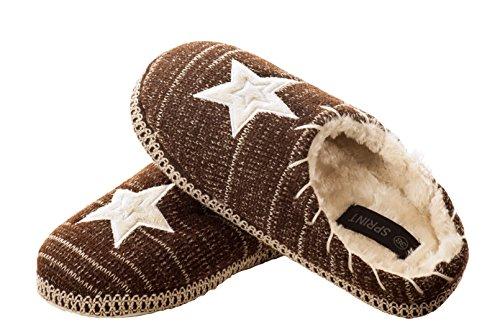 Ciabatte, Pantofole, Pantofole, Ciabatte E Mutandine In Morbida Maglia Con Motivo A Stella Ricamato E Suola In Abs Marrone
