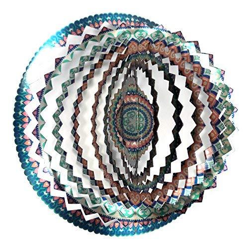 WorldaWhirl Whirligig 3D Wind Spinner Handbemalt Edelstahl Twister Mandala 12 inch Multi Color 2 - Wind-spinner-motoren