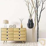 DESIGNSCAPE® Garderobe Birkenstämme | Bäume als Garderobe mit Haken 102 x 200 cm (Breite x Höhe) Farbe 1: beige inkl. 6 Edelstahl Wandhaken DW811050-M-F11