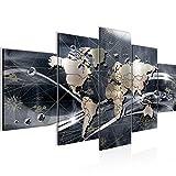 Bilder Weltkarte World Map Wandbild 200 x 100 cm Vlies - Leinwand Bild XXL Format Wandbilder Wohnzimmer Wohnung Deko Kunstdrucke Grau 5 Teilig - MADE IN GERMANY - Fertig zum Aufhängen 106851c