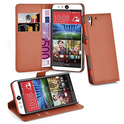 Cadorabo Hülle für HTC Desire Eye Hülle in Schoko braun Handyhülle mit Kartenfach und Standfunktion Case Cover Schutzhülle Etui Tasche Book Klapp Style Schoko-Braun