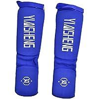 Alomejor Protector de Pierna de Entrenamiento de Fuerza, Transpirable, Acolchado de Espuma Gruesa, Protector de pies para Muay Thai, Taekwondo, Color Azul, tamaño Medium