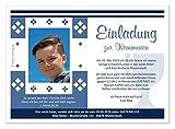 Einladungskarten für Kommunion Kind Junge, mit Foto (auch ohne) lustig und originell - Text ändern, 10 Stück, Größe 17 x 12 cm
