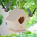 ECMQS - Casetta per Uccelli a Forma di Cuore, in Legno