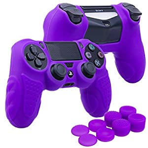 YoRHa Perfekter Griff Kein Geruch Silikon Hülle Abdeckungs Haut Kasten für Sony PS4/slim/Pro Controller x 1 (lila) Mit Pro aufsätze thumb grips x 8