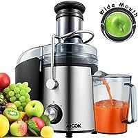 [Patrocinado]Aicok Licuadora para fruta, verdura y zumos, Gran Boca 75mm con 800W, Centrífuga Licuadora con Contenedor de jugo y Cepillo limpieza, 2 velocidades, libre de BPA, Negro