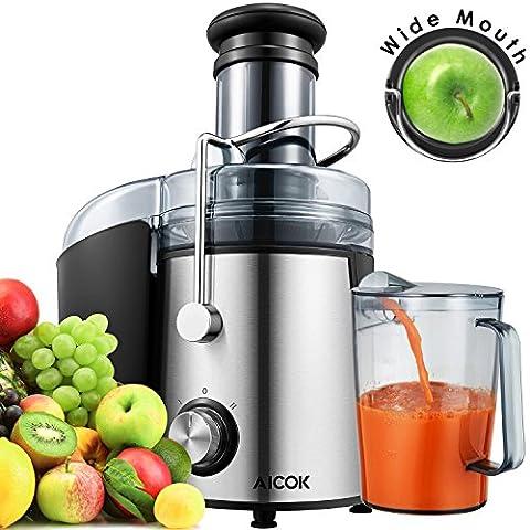 Aicok Entsafter Edelstahl mit 75 mm großer Einfüllöffnung, 800W Juicer für Obst und Gemüse, 2 Geschwindigkeitsstufen, Inkl. 1,1 L Saftbehälter, 2 L Restbehälter und
