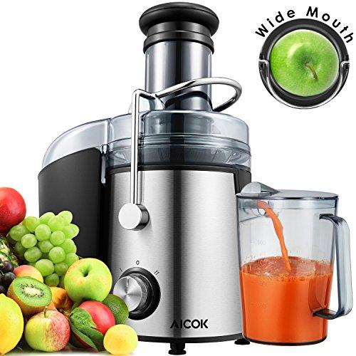 Aicok Centrifuga Frutta Bocca larga 75 mm, Estrattore di Succo a con Juice Jug e Spazzola di Pulizia per frutta e verdura Estrattore, 800W a bassa rumorosità, Acciaio Inox, Nero, BPA free