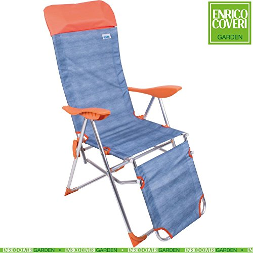 Sedia Sdraio Relax in Alluminio Reclinabile 5 Posizioni Pieghevole tessuto Oxford Jeans con Poggiapiedi, Poggiatesta e Poggiagomiti Arancione, Enrico Coveri Mare