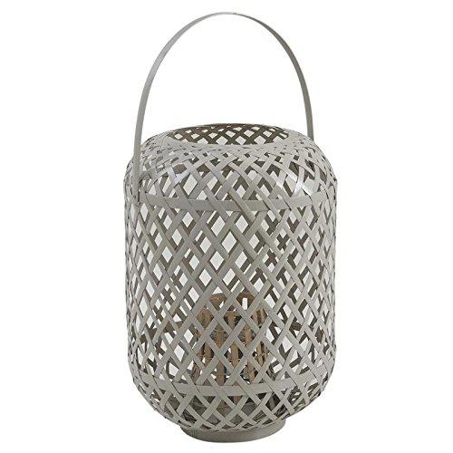 Lanterne en bambou à suspendre laqué gris et verre