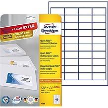 Avery Zweckform 4780 Etiketten (A4, 1000 Plus 200 Universal-Etiketten extra, 48,5 x 25,4 mm) 30 Blatt, weiß