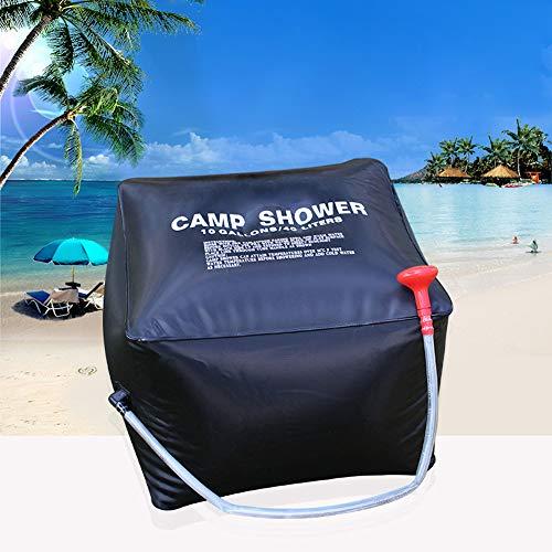 NZNNXN Solar Shower Bag 40L Solarheizung Premium Camping Shower Bag Warmwasser mit umschaltbarer Dusche (Black) -