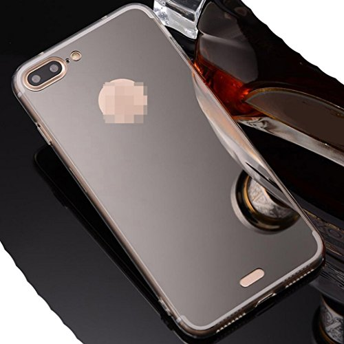 iPhone6S Plus Soft TPU Case, Very Light Slim Elegent Shiny Reflective Mirror Concise Style, WEIFA 2017 Newest Super Cool Personal CellPhone Cover Case For Apple iPhone 6Plus Gold !Black
