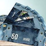 Danksagungen für Geburtstag, Stahlharte Jahre 200 Karten, Kartenfächer 210x80 inkl. weiße Umschläge, Blau