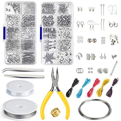 Fepito kit di creazione di gioielli kit di strumenti per la creazione di gioielli con pinze e pinze per la riparazione di gioielli