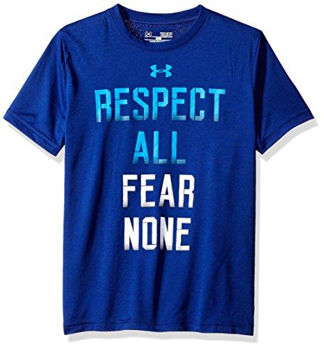 Under Armour Fear None Ss T-Csp/WHT/BLE - Maglietta Sportiva da ragazzo, colore: blu/azzurro/bianco, Ragazzo, Fear None Ss T-csp/wht/ble, Caspian, FR: L (Taglia produttore: YLG)