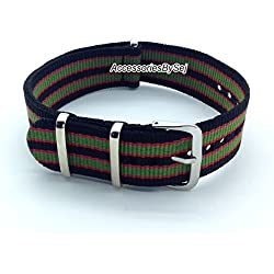 AccessoriesBySej ® TM - G10 NATO MOD NYLON WATCH STRAP - 35 Different Styles & Sizes - (22MM OXFORD) - Presented with a FREE Luxurious AccessoriesBySej ® TM Velvet Gift Pouch/Bag