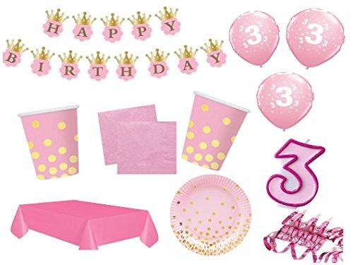 .Geburtstag Kindergeburtstag 54 teilig rosa/gold Mädchen Party Geschirr Party Deko (Gold-und Rosa-party)