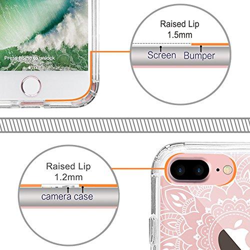 iPhone 7 Plus Hülle, MOSNOVO Weiß Henna Mandala Blumen Klar Entwurf TPU Bumper Rahmen mit Plastik Hart Case Durchsichtig Transparent Schutzhülle für Apple iPhone 7 Plus (5,5 Zoll), iPhone 7 Plus Case Mandala Henna Tattoo
