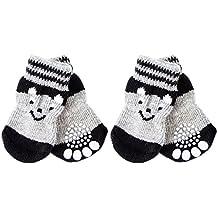 Sharplace 4 Pieza Calcetines Suministros Zapatos de Vestir para Mascotas Accesorios Perro Gato Transpirables Calientes - S