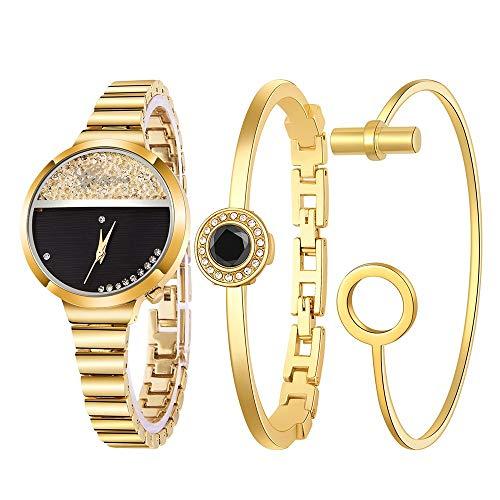 Lazzgirl Frauen-Edelstahlarmband-Band-analoge Quarz-runde Armbanduhr-Uhren(Gold,One Size) (Kinder Mod Kleidung)