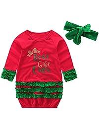 Hawkimin 2PCS Weihnachten Mädchen Langarm Brief Kleid+Stirnband