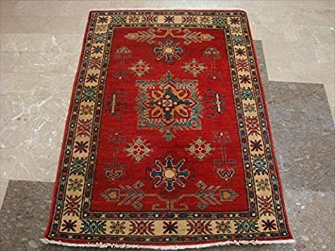 Super Kazak Caucasion Geometric Designed Vegetable Dyed Ghazni Wool Hand