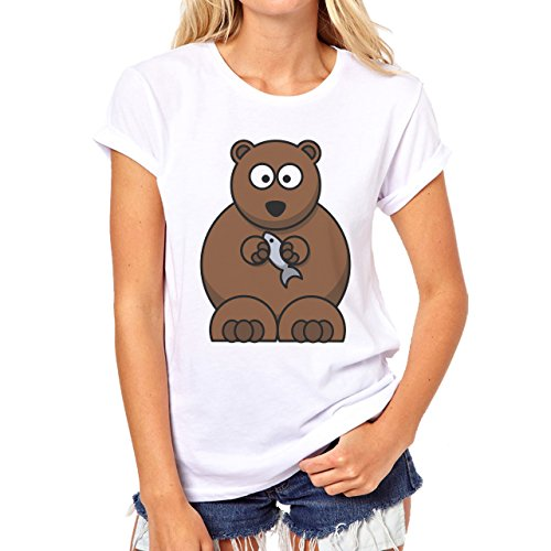Yogi Bear Cartoon Animal Eating Fish Damen T-Shirt Weiß