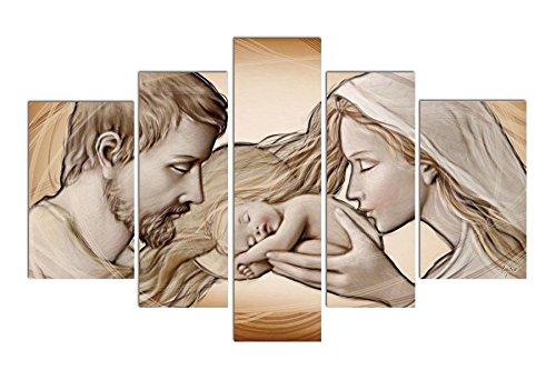Deco Italia Quadro sacro su 5 pannelli su tela Capezzale Sacra Famiglia – Holy Kiss Brown | 150 x 100 cm