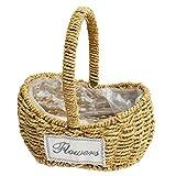 Yardwe Cesta de cesteria de Mimbre Plegable Maceta de Flores Ideal para lavandería y almacenar Juguetes Ropa Fruta o Plantas