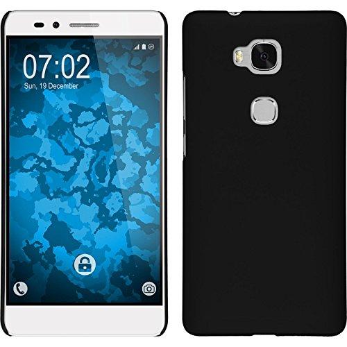 PhoneNatic Case kompatibel mit Huawei Honor 5X - Hülle schwarz gummiert Hard-case Cover 5 X Hard Case