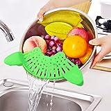 HooYL Filtros de comida, coladores de la olla, colador de Clip de casa creative filtro de fideos y lado de la olla de las verduras verter verduras Drenaje ( verde )