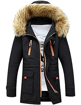 OverDose abrigos hombre invierno chaqueta larga de capucha de lana de piel de moda S-XXXL