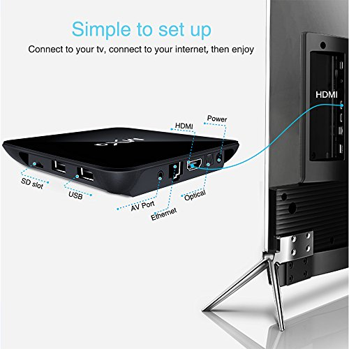 Tonbux® MXQ Pro Android 6,0 Kodi TV Box mit Amlogic S905X Quad core Full Loaded KODI 16,1 (XMBC) mit Add-Ons 4K*2K Streaming Media Player + i8 Bluetooth mini Tastatur - 5