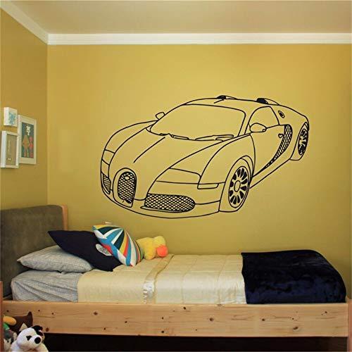 yiyiyaya Rushed New Wall Room Decor Vinyl Aufkleber Wandtattoo Speed   Car Boy Supercar Vinyl Aufkleber grau 58 x 35 cm (Pur Wasser Kids Flasche)