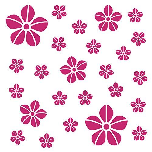 Kleb Drauf 25 Blumen Pink Glänzend Autoaufkleber Autosticker Decal Aufkleber Sticker Auto Car Motorrad Fahrrad Roller Bike Deko Tuning