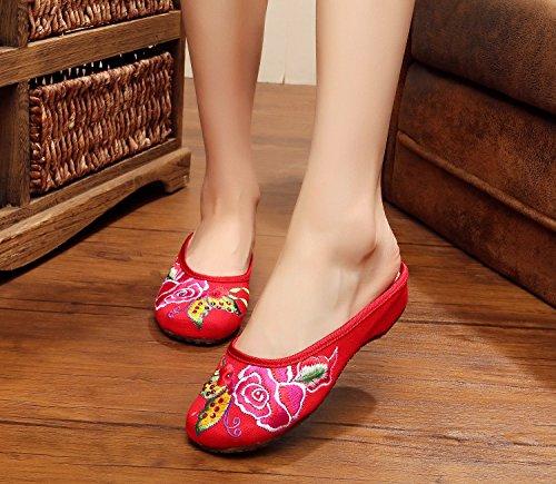 ZQ Feine gestickte Schuhe, Sehnensohle, ethnischer Stil, weiblicher Flip Flop, Mode, bequem, Sandalen Red