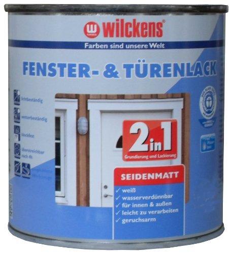 2in1 Türen und Fensterlack weiss inkl. Pinsel von E-Com24 zum Auftragen und 1 Paar Nitrilhandschuhe (2 in 1 750 ml seidematt)