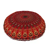 Aakarshan 81,3cm Mandala Sol Taie d'oreiller Coussin Assise Couvre-Lit Motif Hippie décoratifs (Rouge)