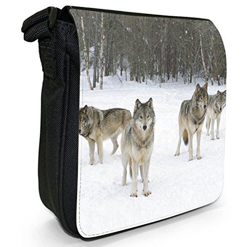 Wolves Wolf-Borsa a spalla piccola di tela, colore: nero, taglia: S Nero (Lupi nella neve)