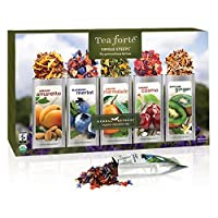 Tea Forté HERBAL RETREAT Single Steeps Organic Herbal Tea Loose Leaf Tea Sampler, 15 Single Serve Pouches, Relaxation Tea