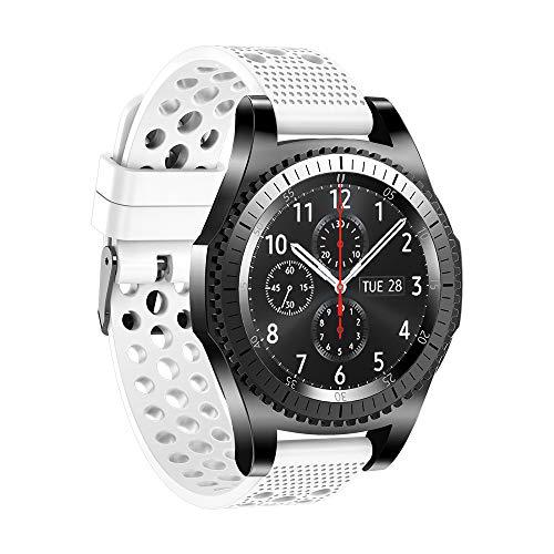 MMLC Ersatzband für Samsung Gear S3 Armband Silikon, MoTech 22mm Weich Uhrenarmband Sportarmband Silikonarmband Sport Silicone Band (white)