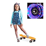 Relaxdays Skateboard LED für Kinder, 22 Zoll Mini Cruiser mit Leuchtrollen, ABEC 7 Alu-Trucks mit Gummi Wheels, orange