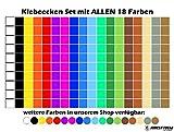 900 Ecken 15mm 50 je Farbe Klebepunkte Punkt Aufkleber Inventur Kreise Folie