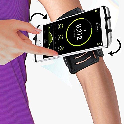 Sport Armband, Vive Comb Sport Armband 180°Drehbar, Einstellbar, Ideal für Joggen Laufen Wandern Radfahren (schwarz)
