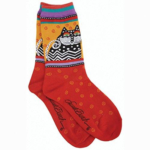 laurel-burch-womens-socks-polka-dot-cats