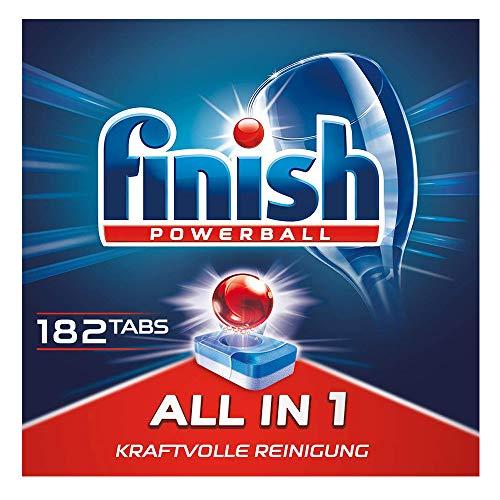Finish All in 1 Spülmaschinentabs, phosphatfrei - Geschirrspültabs mit kraftvollem Powerball gegen hartnäckigste Fettanschmutzungen - Für 3 Monate - Gigapack mit 182 Finish Tabs