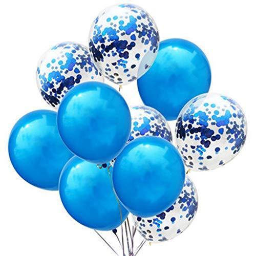 RZRCJ Luftballons (Spielzeug) Geburtstag Dekoration 10 Stücke Blau Rosa Konfetti Ballon Alles Gute Zum Geburtstag Luftballons Junge Mädchen Baby Shower Gender Reveal Ballons, Königsblau