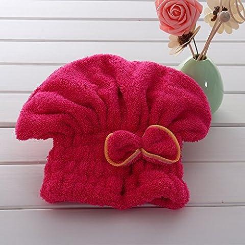 Senrn® Cuscini decorativi capelli velocemente tovagliolo asciutto cuffia da bagno Wrap Twist Cappello Bowknot Soild Quick Dry doccia Cap testa per le donne signore Bath Strumenti - Red Rose